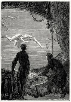 A man shipwrecked! He must be saved at any price!    Alphonse de Neuville from Vingt mille lieues sous les mers (Twenty thousand leagues under the seas), by Jules Verne, Paris, 1871.    (Source: archive.org)