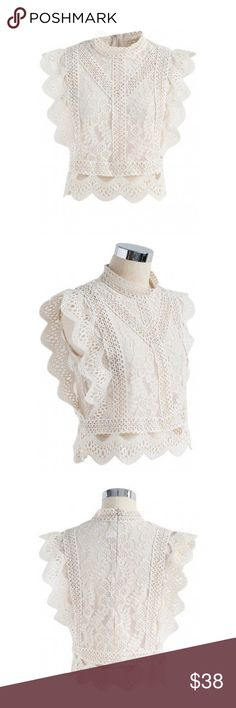 """Sleeveless Crochet Lace Crop Top in Beige So so cute but too small on me! The the tag says S/M but I would call it an XS/S. It's a little more cropped than it looks so please see last photo for measurement details!! I am 5'8"""" 125lbs and generally dress size 4 or 6. It's wearable on me but my long torso made it way too cropped for my preference. It is a cream / beige color not white like one of the influencer photos. NEVER WORN!! Tops Blouses"""