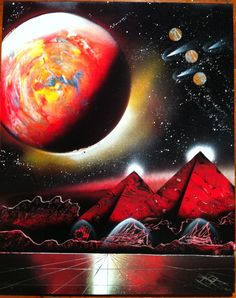 """Ancient Sumeria"" - Spray Paint Art by Markus Fussell SOLD"