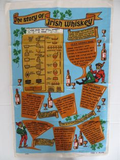 Vintage Linen Towel, Irish Whiskey, Ireland Towel, Screen Print, Tea Towel, Retro Towel,, Leprechans, Shamrocks, St Patricks Day, Unused by CatBazaar on Etsy