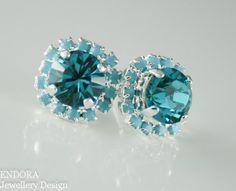Crystal earrings, Blue crystal earrings, wedding jewelry, Blue wedding, Turquoise earrings, Zircon earrings,earring swarovski,blue stud by EndoraJewellery (http://ift.tt/1uxHSia) PURCHASE HERE:...