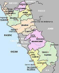 Mapas del Perú: turismo: Mapa provincias de Lima