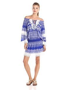 2c60feb57c8c Tbags Los Angeles Women s Off Shoulder Blue Geo with Crochet Detail Dr