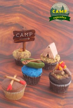 Camping inspired cupcakes by Alana Jones-Mann. Camping Parties, Camping Theme, Camping 101, Camping Wedding, Camping Ideas, Camp Cupcakes, Themed Cupcakes, Campfire Cupcakes, Camping Cakes