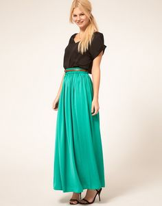 9bf3efd4c421a Maxi skirt for work  Turquoise maxi skirt worn on the waist