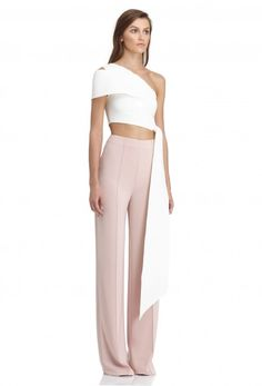 Image 1 of AQ/AQ Lolita One Shoulder Crop Top with Cut-Out Detail and Side Panel · Cream White ·