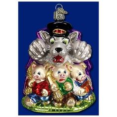 Old World Christmas Three Little Pigs & Big Bad Wolf Glass Ornament #12236