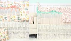 Vintage Style Baby Bedding from @CadenLane - love the lace ruffle crib skirts!