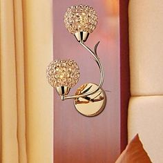 Modern Gold Double K9 Crystal Wall Lights – USD $ 69.88