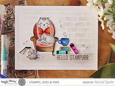 Waffle Flower Crafts It's In The Details | Hello Stampurr (Scene Card with Stenciled Background)