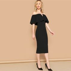 Black Elegant Off The Shoulder Bodycon Dress Summer Women Short Sleeve Ruffle Trim Glamorous Solid Pencil Midi Party Dress Bodycon Outfits, Bodycon Dress, 21st Dresses, Summer Dresses, Women's Dresses, Shirred Dress, Natural Clothing, Elegant, Dress Collection