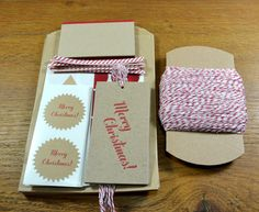Small Christmas gift wrap packaging kit - Merry Christmas in red and kraft paper - kraft paper, gift tags, stickers, twine