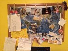 Pin a world map to a cork board to add an interesting touch to your bedroom.