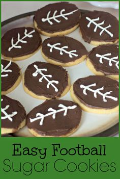 Make football shaped cookies without a special cookie cutter.  Quick and easy Super Bowl cookies