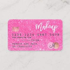 Credit Card | Zazzle.com Glitter Hair, Glitter Makeup, Rose Gold Glitter, Makeup Business Cards, Elegant Business Cards, Aqua, Purple Teal, Bright Pink, Turquoise Hair