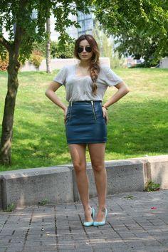 Sound of Sweet Lullabies : Teal Leather Skirt Mint Heels - braids High Heels Outfit, Heels Outfits, Turquoise Heels, Teal Heels, Mint High Heels, Denim Skirt, Leather Skirt, Skirt Fashion, Fashion Outfits