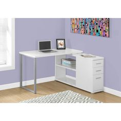Study in style with this sleek and contemporary L-shaped computer desk. With clean lines, thick panel construction and sleek track metal legs, this desk is the perfect combination of function, versati