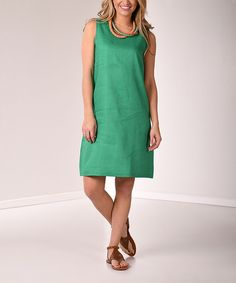 Look at this Lbisse Green Linen Sleeveless Dress on #zulily today!