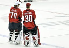 Holtby & Neuvirth... they look so funny without the rest of their equipment on.