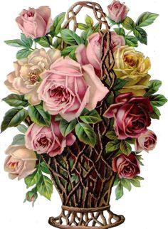 Oblaten Glanzbild scrap die cut chromo Rosen Korb 24cm flower basket fleur rose