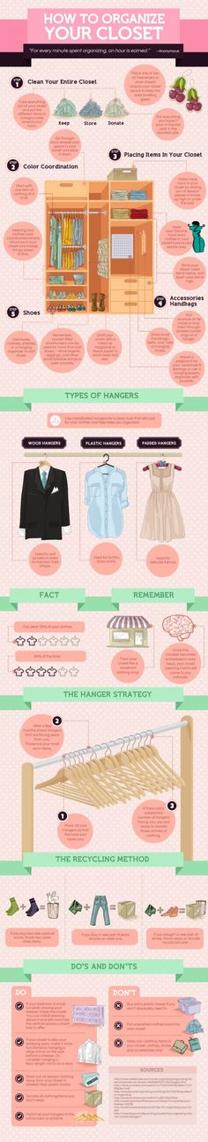 4 Steps To Organize Your Closet and Maximize Closet Space #closet #organize #infographic