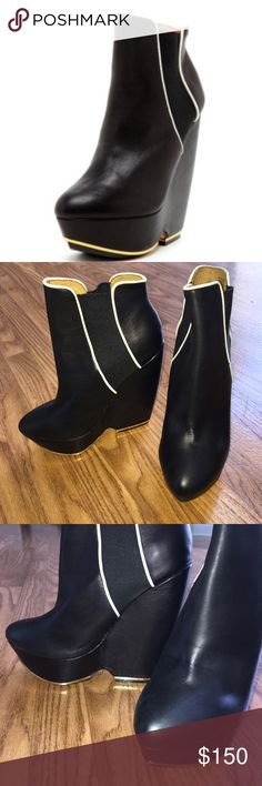 "🆕 L.A.M.B Women Diva Ankle Boot Black w Gold Trim Leather Imported Rubber sole Shaft measures approximately 6.5"" from arch Heel measures approximately 5.5"" Platform measures approximately 1.5"" Boot opening measures approximately 10"" around. Fits true to size. Never Worn L.A.M.B. Shoes Ankle Boots & Booties"