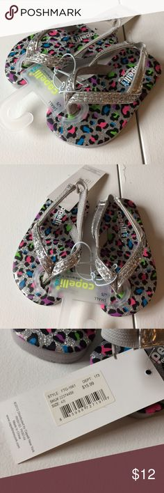 NWT Silver Cheetah Sparkle Sandals Toddler girls size 4/5 (small). Brand new with attached tags. Retail $15.99. Shoes Sandals & Flip Flops