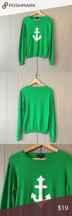 "Green Anchor Sweater 🍃 Cute and preppy sweater in good condition. Has some fuzzies around under arm area as pictured in last 2 photos. Armpit to armpit is 20"". Length is 23"". Offers are welcome. ☺️ Nicole's Closet Sweaters Crew & Scoop Necks"