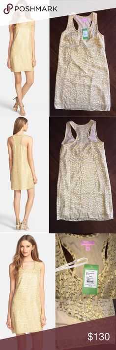 $228 Lilly Pulitzer Betty Dress Gold Dress 'Betty' Metallic Jacquard Racerback Tank Dress Metallic threads create a shimmery pattern on a lush silk-blend tank dress cut with an easy silhouette and a sporty racerback. Slips on over head. Unlined. 60% silk, 40% metallic fibers. Dry clean. By Lilly Pulitzer; imported. Lilly Pulitzer Dresses