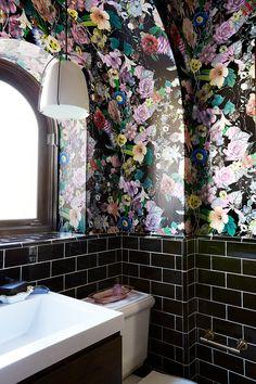 Spanish Craftsman His + Hers Boho Bathroom, Bathroom Ideas, Bathroom Wallpaper, Bathroom Inspiration, Interior Inspiration, Beautiful Bathrooms, Bathroom Interior Design, My New Room, Architecture