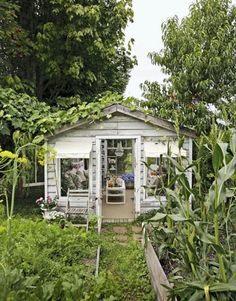 I would love this Quaint Greenhouse built in the middle of the garden Every gardener need one of these!