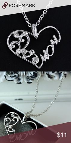 """Hot Elegant Mother's Crystal Silver Heart Necklace A Mother's love is Beautiful and Amazing. """"I Appreciate You"""" Thank you for always being there for me!  Aww  Size Approx: 51.8 cm (19 4/7"""") long  Material: Zinc Alloy Shiny Crystal Rhinestone   Package Type: All Products New Safety Bubble Wrap. >>>>>>>>This Chain has extra links for longer lengths Jewelry Necklaces"""