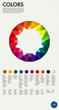 """""""COLORS"""" by 24Slides. Infographic about graphic design and color theory. I love that the color wheel is faceted like a gem catching the sunlight..."""