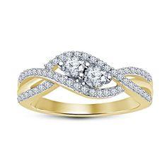 Lovely Women's Two Stone Sim Diamond Wedding Ring In 14k Yellow Gp .925 Silver…