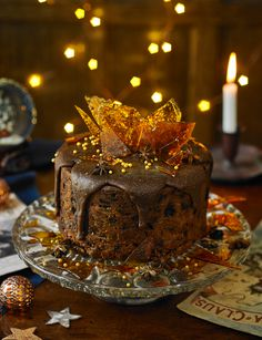 This caramel fudge Christmas cake decoration tastes just as good as it looks...