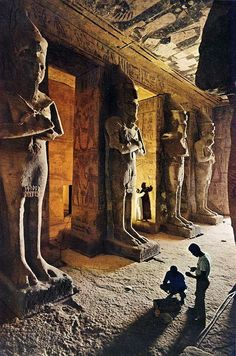 The Abu Simbel temples are two massive rock temples in Abu Simbel in Nubia, southern Egypt. They are situated on the western bank of Lake Nasser, about 230 km southwest of Aswan