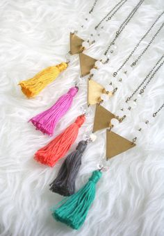 Colorful Geometric Tassel & Crystal Necklace by EclecticOrchid, $34.00