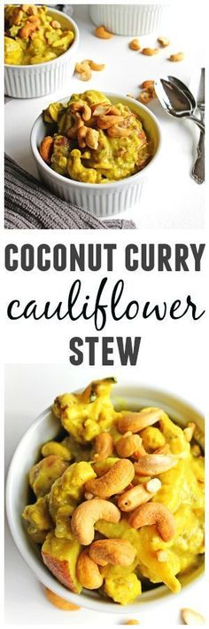 Coconut curry cauliflower stew with potatoes and cashews recipe! A warm and comforting vegan dinner packed with flavor and ready in under an hour! Vegan, gluten free, paleo, delicious. // Rhubarbarians #vegandinner