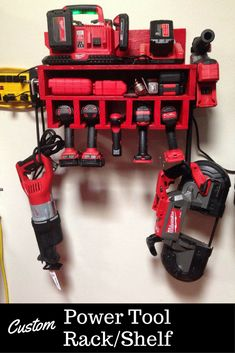 My husband needs this! Always looking for his cordless tools. This custom built rack/shelf has slots to hang them neatly and keep accessories such as bits. Can act as a charging station too. Very Handy! #cordlesspowertools #organization #ad