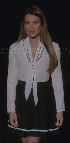 Rachel s black skirt with white stripe and white bow front blouse on Glee  Rachel Berry Style 0bb14c4b9