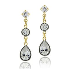 18K Gold & Black Rhodium Overlay Sterling Silver CZ Dangle Earrings SilverSpeck.com. $17.99