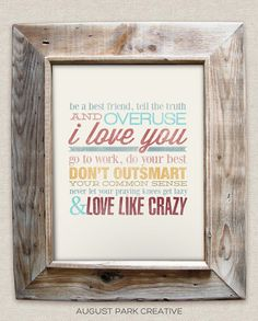 Love like Crazy - 8x10- Rustic - Vintage Style - Typographic Art Print - Country Song Lyrics