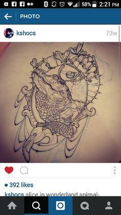 Alligator tattoo drawing