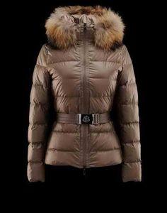 Fashion Cheap Women's Moncler Jacket Angers Brown