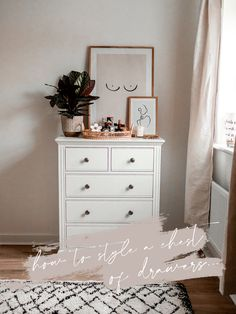 Find out my top tips for styling a chest of drawers. Dresser Top Decor, Chest Of Drawers Decor, White Chest Of Drawers, Top Of Dresser Organization, White Drawers Bedroom, Bedroom Dresser Styling, Study Room Decor, Room Ideas Bedroom, Bedroom Decor