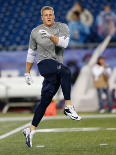 J.J. Watt J.J. Watt #99 of the Houston Texans works out before a game with the New England Patriots at Gillette Stadium on December 10, 2012...