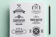 Collection of carpentry logo by Lustra Frisk on Creative Market