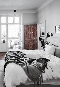Last century home bedroom design, all white bedroom, natural light, distressed wood door Cozy Bedroom, Dream Bedroom, Bedroom Decor, Bedroom Ideas, Swedish Bedroom, White Bedroom, Bedroom Inspiration, Bedroom Balcony, Bedroom Signs