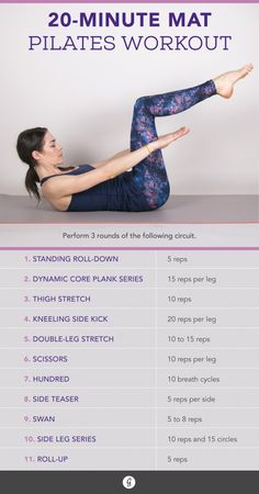 These mat-based moves will fire up your core and give you a full-body burn in just 20 minutes. #pilates #workout #fitness https://greatist.com/move/mat-pilates-workout
