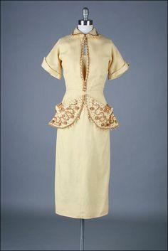 vintage 1940s dress  wheat linen  fabulous by millstreetvintage, $245.00